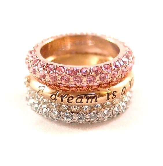 """Disney Couture- Cinderella """"A Dream is a Wish"""" Stacked Ring Set"""
