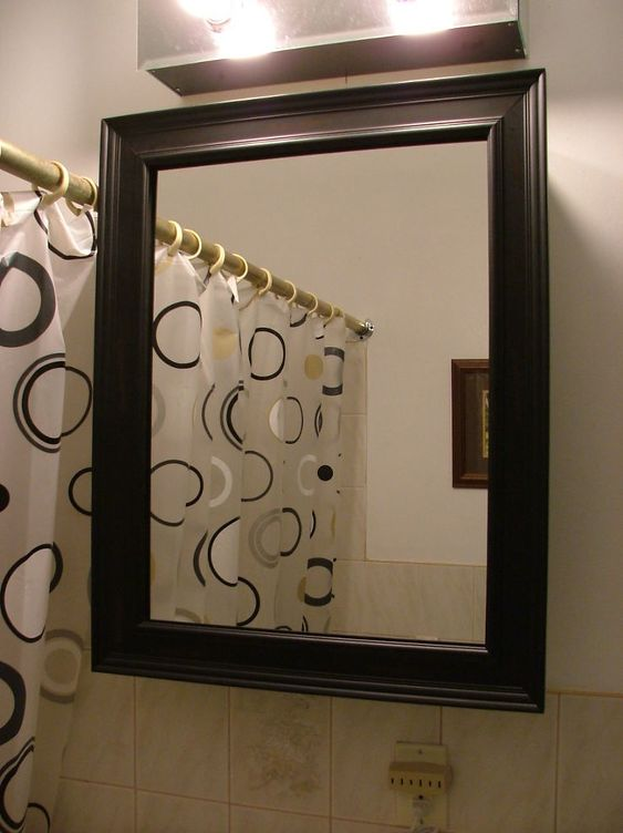 How to frame a medicine cabinet mirror!! Old medicine cabinet gets a facelift for $30 :: Hometalk