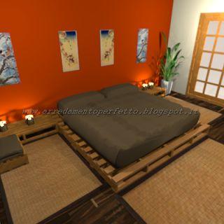 La camera da letto in stile orientale realizzata con l'uso esclusivo delle pedane