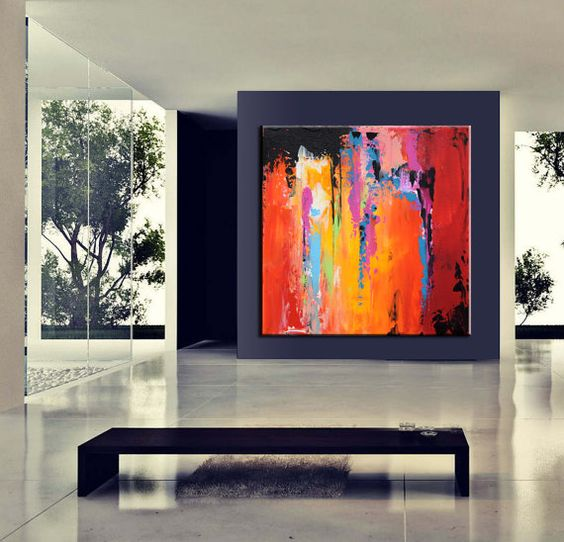 Grand Art contemporain abstrait toile par ModernArtHomeDecor