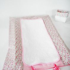 Housse matelas à langer - liberty eloïse rose (fleurs) - rubans rose