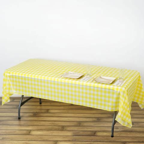 Buffalo Plaid Tablecloth 54 X 108 Rectangular White Yellow Disposable Checkered Plastic Vinyl Tablecloth With Images Plaid Tablecloth Table Cloth Vinyl Tablecloth