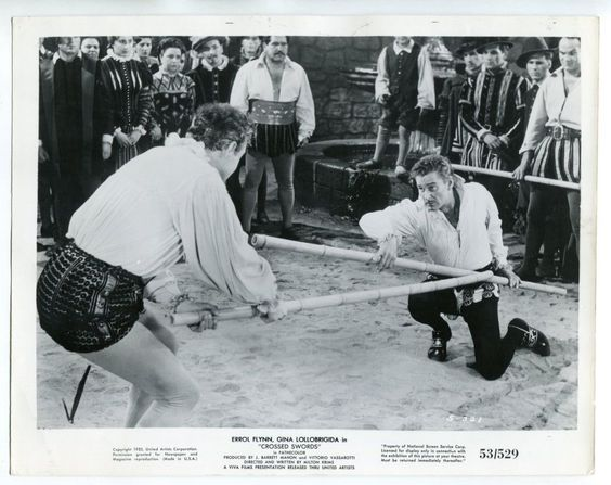 "Crossed Swords 8""x10"" Black and White Promotional Still Errol Flynn FN"