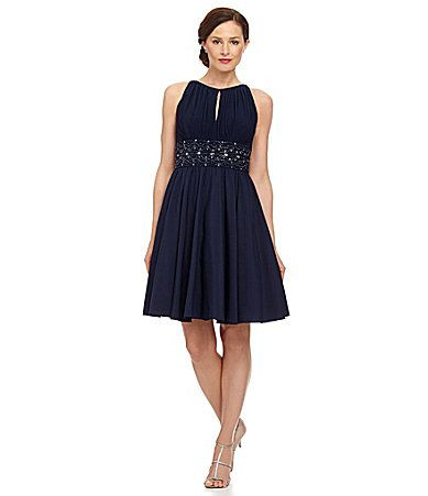 Jessica Howard Beaded Waist Keyhole Dress #Dillards Navy was always my dream wedding color but it is hard to find