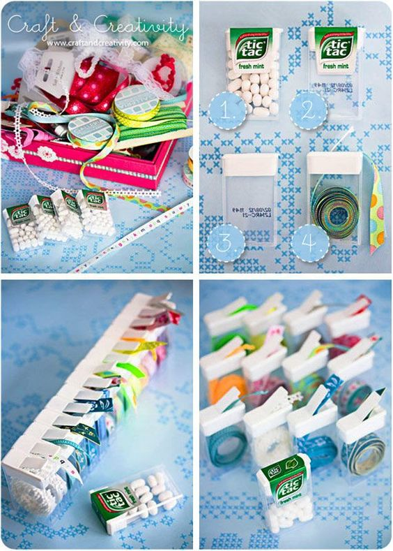 DIY Craft Room Ideas and Craft Room Organization Projects -  Tic Tac Ribbon Organizer  - Cool Ideas for Do It Yourself Craft Storage - fabric, paper, pens, creative tools, crafts supplies and sewing notions |   http://diyjoy.com/craft-room-organization: