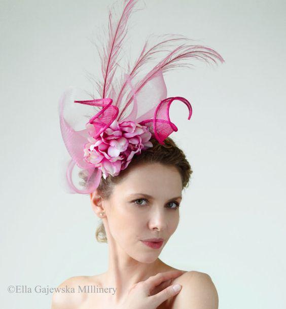 Floral Fuchsia Pink Peony Statement Straw by EllaGajewskaHATS