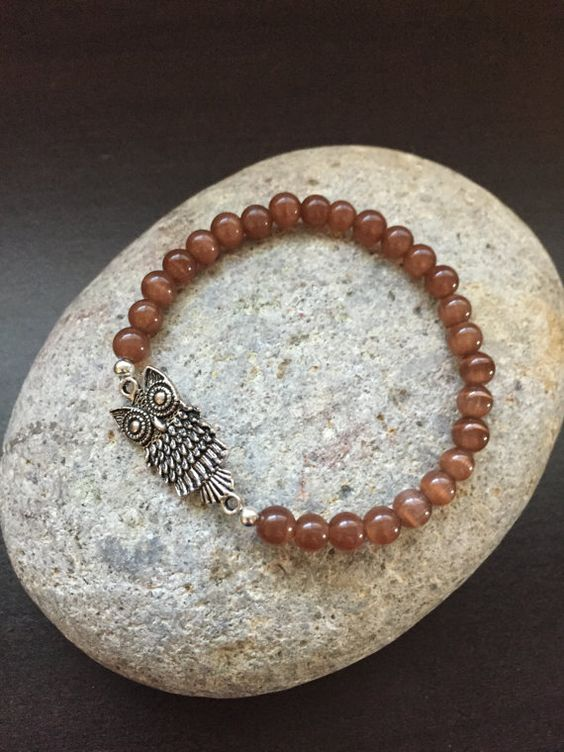 Silver Owl Brown Glass Bead Stretch Bracelet by Kosmikchic on Etsy