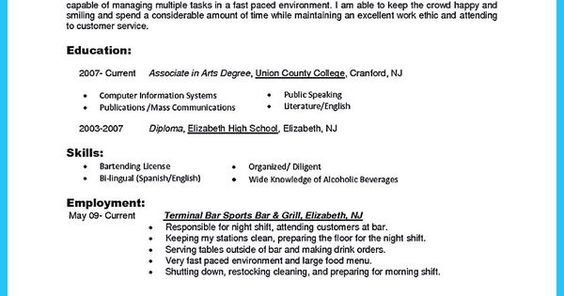 professional bartender resume samples for job applicants appealing - bartender job description for resume