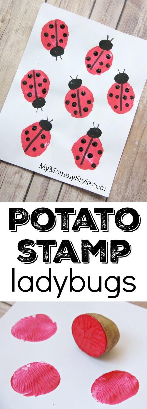 Potato stamp ladybugs, fun and easy preschool craft for bug or ladybug week. Perfect art project to go along with the Grouchy Ladybug or Ladybug Girl books.