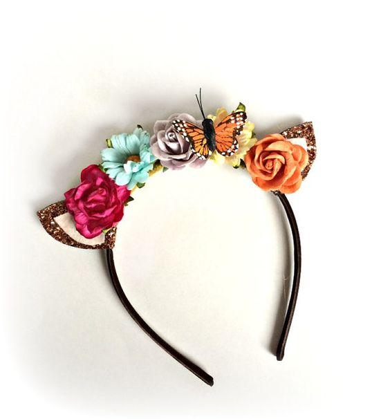 Fawn Headband Fawn Ears Deer Headband Bambi Spring Flowers Flower Halo Headband Photo Prop Butterfly