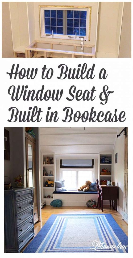 DIY: How To Build A Window Seat And Built In Bookcases - Tucker's Room |  Window, Room And House