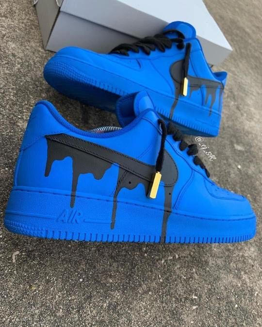 nike air force 1 custom blue drip