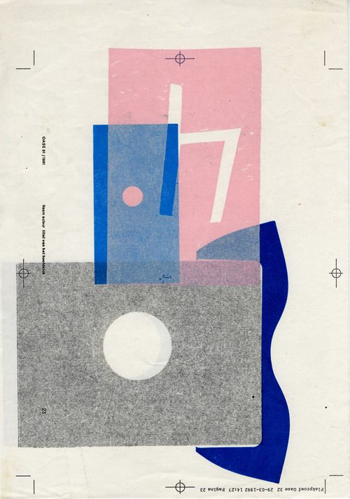 Untitled, circa 1992 [letterpress monoprint on photocopy] by Karel Martens | Dutch graphic designer, b. 1939: