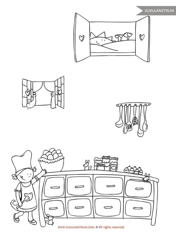 Dibujos de cocina para colorear beautiful menta ms - Utensilios de cocina para pintar ...