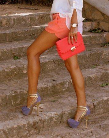 ..: Purple Shoes, Shoesss, Color Combos, Coral Lavender, Outfit, Purple Heel, Coral Shorts, Shoes Shorts