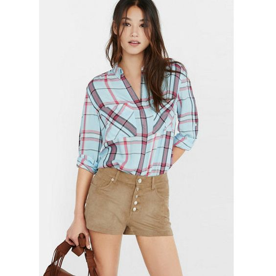 Express Mint White And Red Plaid Oversized Shirt ($60) found on Polyvore featuring women's fashion, tops, blue, red button up shirt, white button up shirt, long white shirt, red shirt and white shirt