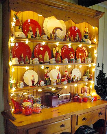This is to remind me next year to string lights in my hutch to highlight my Christmas Cookie Jar collection. Update 2013:  I did put lights in my hutch this year and it is awesome!