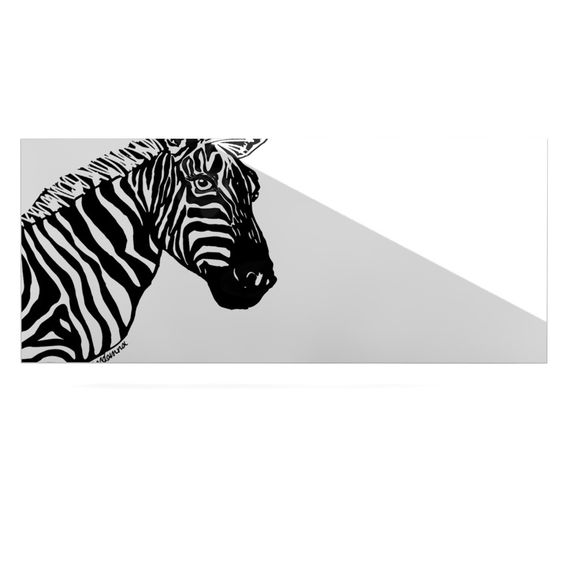 "Geordanna Cordero-Fields ""My Zebra Head"" Black White Luxe Rectangle Panel"