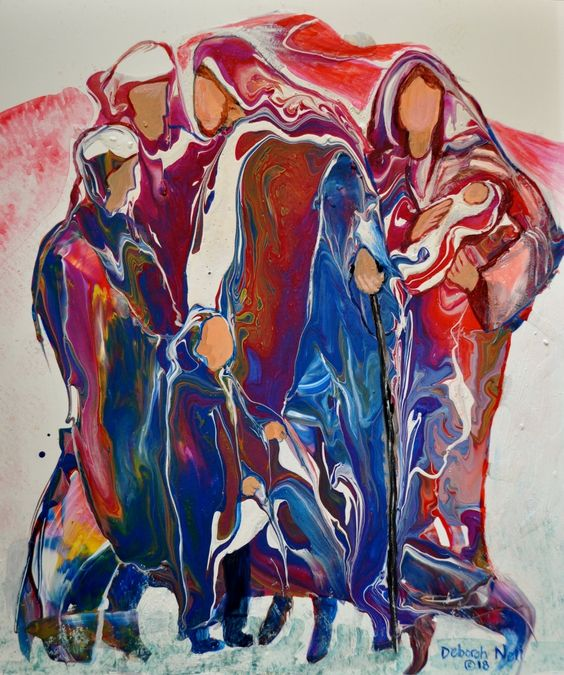 """Colorful Acrylic Pour Painting, Faceless Art, Prophetic Art, Biblical Art, Christian Art, """"Out Of Egypt"""""""