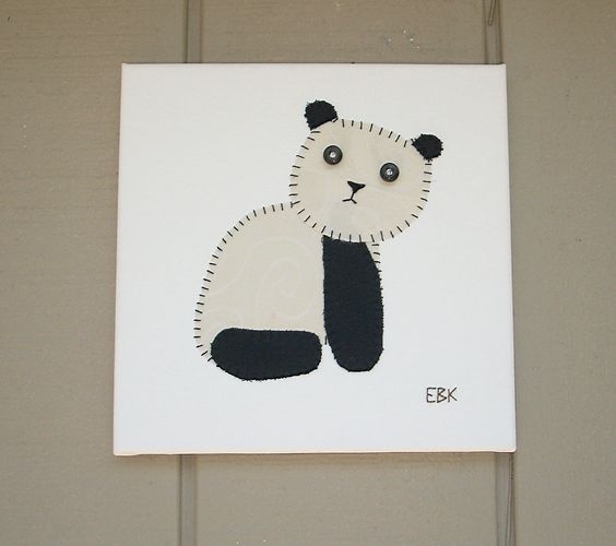 Sitting Panda #1 Fabric Wall Art by CottonwoodCove on Etsy