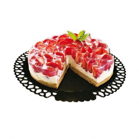 Support gâteau rond en carton rose bord dentelle, pour la présentation des…