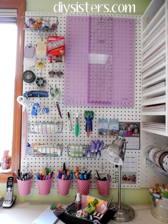 Craft room make over part 4 peg board and craft space for Craft room pegboard accessories