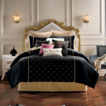 Juicy couture after hours comforter shams velour queen - White and gold bedroom furniture set ...