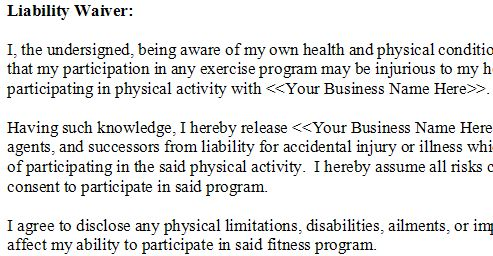 Yoga Waiver Examples. Medical Waiver Forms Free Sample Example ...