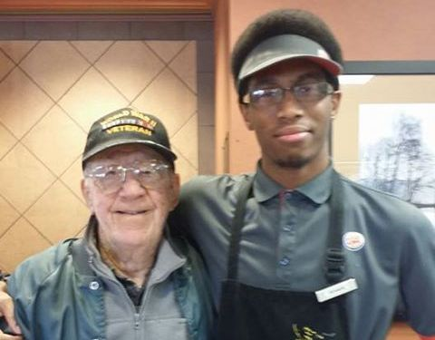 Two men from different generations, a World War II veteran and future airman, grabbed the attention of custome...