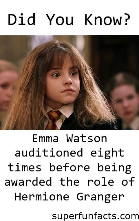 Emma Watson S Harry Potter Audition Obviously Went Well However She Auditioned Eight Times Har Harry Potter Fun Facts Harry Potter Facts Rowling Harry Potter
