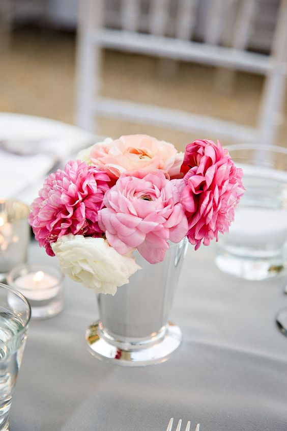 Pink blooms in a julep cup are so simple and stunning shot by Vero Suh Photography