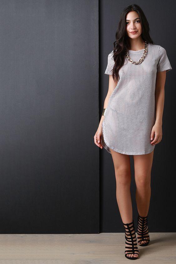 Chain Necklace Mesh Shirt Dress
