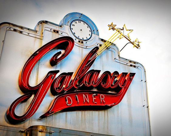 Route 66 Galaxy Diner Vintage Neon Sign by RetroRoadsidePhoto