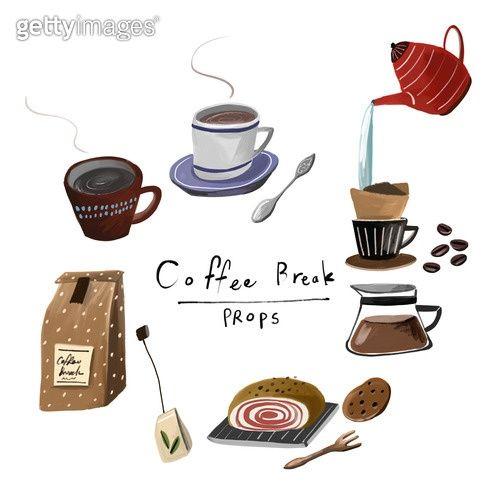 Lifestyle Painter Icon Coffee Break By 게티이미지뱅크 라이프스타일 커피 커피타임 여유 휴식 마카롱 텀블러 스타벅스 커피포트 카드 배너 영감 아이디어 백그라운드 일러스트 아이콘 커피 일러스트 색연필 스케치 귀여운 음식