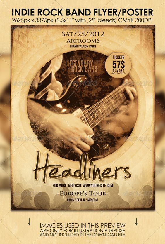 Indie Rock Band Flyer/Poster | Flyer template, Promotion and Poster