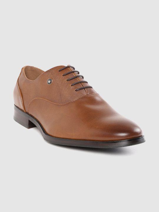 Louis Philippe Men Tan Brown Leather