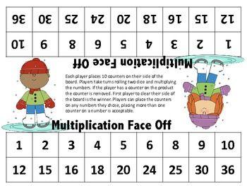 Number Names Worksheets beginning multiplication games : Freebie! Multiplication Face Off (A Multiplication Game for 1 - 6 ...