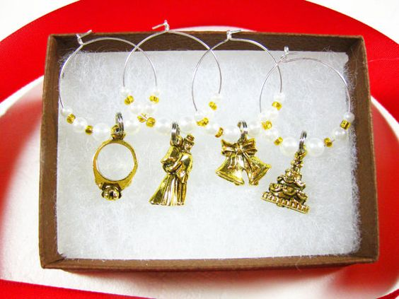 White Pearly Beads and Gold #Wedding Charms by @TwistedRedhead2 #TheTwistedRedhead