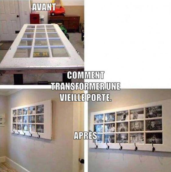 Idée récup Porte en tableau photo