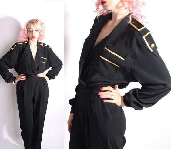 Black  Romper / Military / Black and Gold  /  / Black and Gold / Vintage Jumpsuit / Pantsuit / One Piece / Onesie  / 1236. via Etsy.