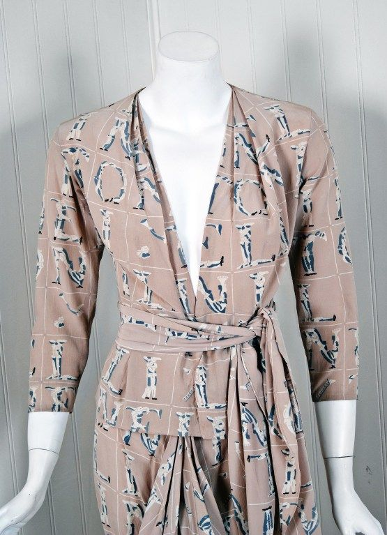 1930's Lucien Lelong Haute-Couture Novelty Surrealism Print-Silk Draped Dress image 2