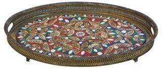Moroccan Tray w/ Colorful Bone Inlay-food tray