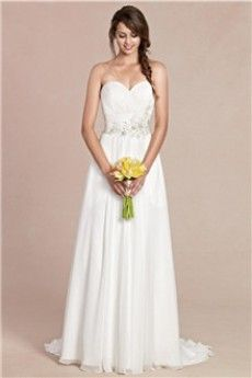 A-Line/Princess Strapless Sweetheart Court Train Chiffon Wedding Dress