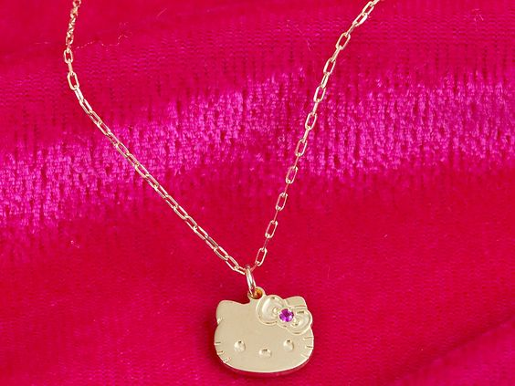 Hello Kitty10K Pendant Necklace w/ Ruby