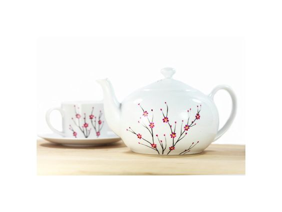 White Ceramic Teapot hand painted blooming by SylwiaGlassArt