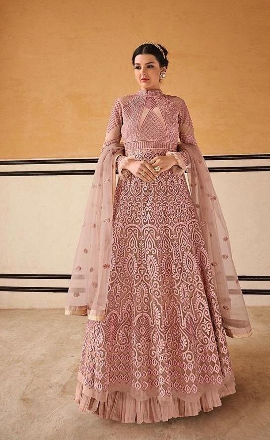 Pastel Pink Fancy Fabric Partywear Anarkali With Pastel Pink ...