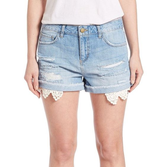 Design Lab Lord & Taylor Crocheted-Trim Cutoff Denim Shorts- ($34) ❤ liked on Polyvore featuring shorts, light wash, cut-off shorts, cut off denim shorts, ripped jean shorts, destroyed jean shorts and cut off shorts