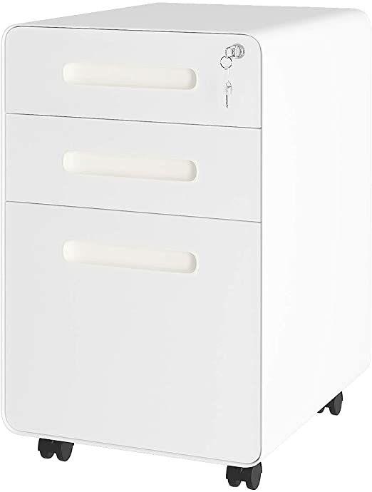 Yitahome Interlocking 3 Drawer Mobile File Cabinet With Anti Tilt System Adjustable Hanging Bar Metal Filing Cabinet Mobile File Cabinet Metal Filing Cabinet