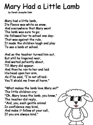 Mary Had A Little Lamb Poem