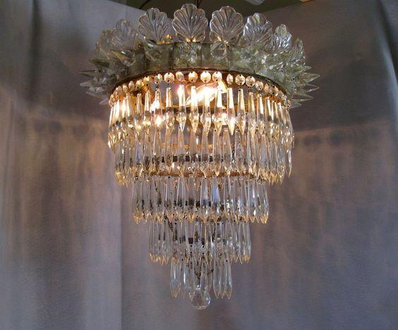 Antique Five Tier Crystal Chandelier C1880 3 Light